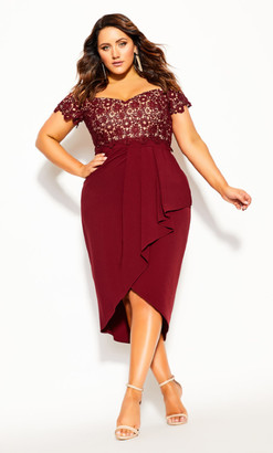 City Chic Lace Glamour Dress - cherry