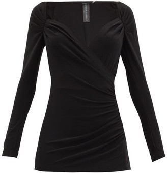 Norma Kamali Queen Anne-neckline Gathered Stretch-jersey Top - Black
