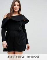 Asos Romper with Asymmetric Off Shoulder Ruffle