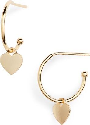 Estella Bartlett Heart Drop Hoop Earrings