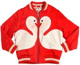 Stella McCartney Swans Embroidered Satin Bomber Jacket