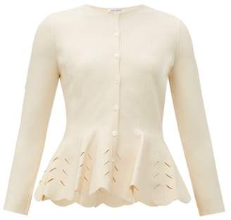 Alexander McQueen Scalloped Peplum Knitted Cardigan - Womens - Ivory