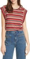 Joie Jedda Stripe Short Sleeve Linen Slub Jersey Top