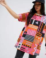 Asos Super Oversized T-Shirt in 80s Geo-Tribal Print