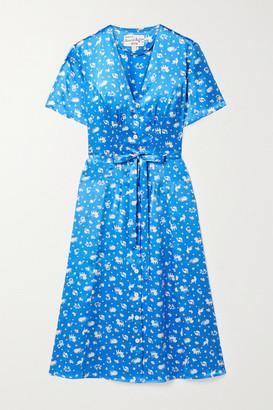 HVN Rosemary Belted Printed Silk-satin Dress - Blue