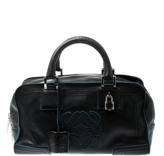 Loewe Black/Blue Leather Amazona Satchel