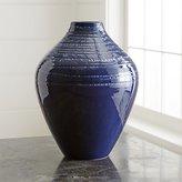 Crate & Barrel Jelena Indigo Blue Ceramic Vase