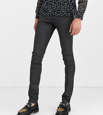 ASOS DESIGN Tall super skinny coated smart jeans in military green
