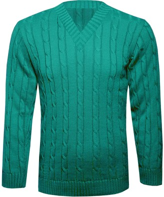 Missmister Mens Gents Plain Chunky Cable Knitted Crew Neck Long Sleeve Top Knitwear Plus Size Jumper Pullover Sweater S-5XL
