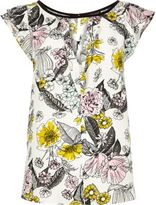 River Island Womens Yellow floral print keyhole top