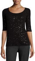 Neiman Marcus Half-Sleeve Sequin Cashmere Sweater