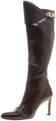 Gucci Brown Leather Croc Trimmed Calf Length Boots Size 39