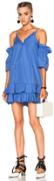 Nicholas Cotton Ruffle Hem Dress in Blue.