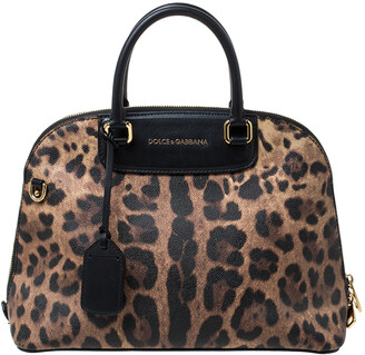 Dolce & Gabbana Black/Brown Leopard Print Coated Canvas and Leather Megan Dome Satchel
