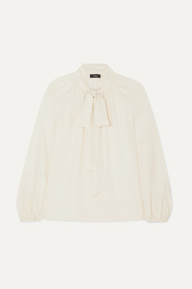 Theory Pussy-bow Silk-crepe Blouse - Ivory