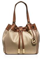 MICHAEL Michael Kors Large Metallic Marina Drawstring Canvas Shoulder Bag