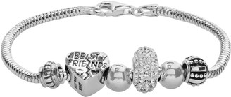"Individuality Beads Crystal Sterling Silver Snake Chain Bracelet & ""Best Friends"" Heart Bead Set"