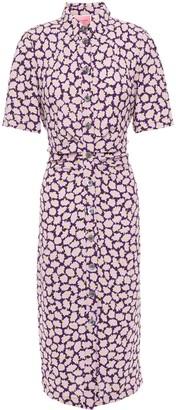 Kate Spade Gathered Floral-print Cady Midi Shirt Dress