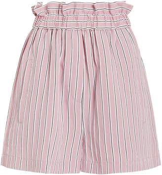 Tibi Striped Twill Shirred Shorts