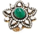 Amrapali 14K Yellow Gold, Emerald & 2.40 Total Ct. Diamond Star Cocktail Ring
