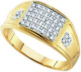 DazzlingRock Collection 0.27 Carat (ctw) 10K Yellow Gold Round White Diamond Men's MicroPave Wedding Band Anniversary Ring 1/4 CT