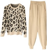 Goodnight Macaroon 'Mayra' Leopard Knit Crewneck PJ Set (2 Colors)