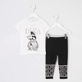 River Island Mini girls cream 'Diva' T-shirt outfit