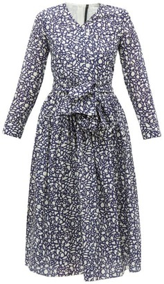 Sara Lanzi Abstract-print V-neck Cotton-blend Wrap Dress - Navy White