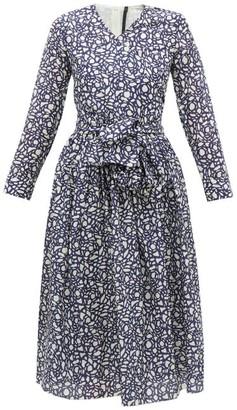 Sara Lanzi Abstract-print V-neck Cotton-blend Wrap Dress - Womens - Navy White
