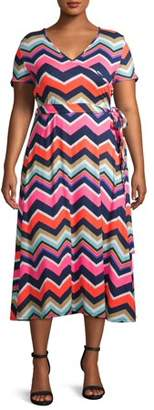 Love Sadie Women's Plus Size Short Sleeve Faux Wrap Midi Dress