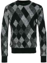 Saint Laurent argyle embroidered sweater