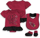 NFL Arizona Cardinals 3-Piece Girl Creeper Bib and Bootie Set