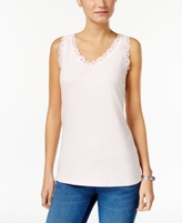 Karen Scott Petite Scalloped Lace Cotton Tank, Created for Macy's