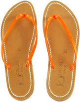 K. Jacques St. Tropez Neon Leather Flip Flops
