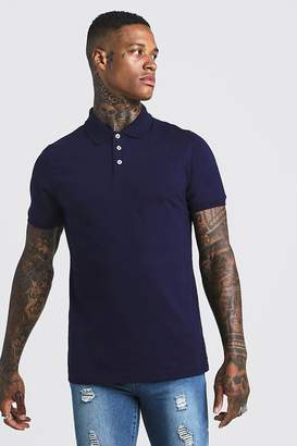 boohoo Muscle Fit Jersey Polo