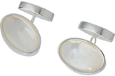 John Lewis Silver Plated Mother Of Pearl Oval Chain Cufflinks, Mother Of Pearl