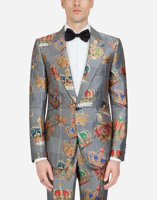 Dolce & Gabbana Mikado Silk Sicilia Jacket With Crown Print