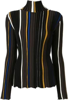 AKIRA NAKA striped knit turtleneck jumper