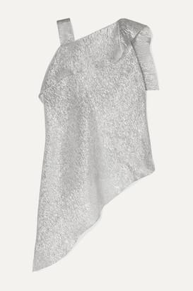 Roland Mouret Iver Asymmetric Silk-blend Lurex Blouse - Silver