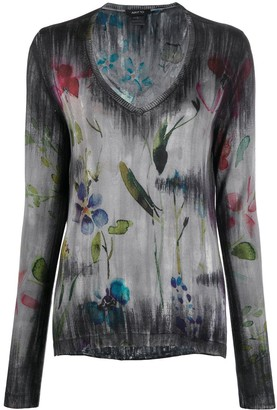 Avant Toi Floral Print Faded Effect Knitted Top