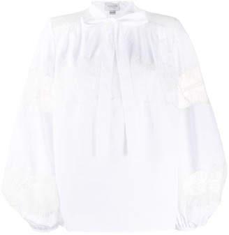 Giambattista Valli Embroidered Panel Tie Neck Blouse