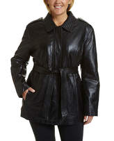 JCPenney Excelled Leather Excelled Belted Hipster Jacket - Plus