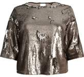 River Island Womens Plus metallic grey sequin grazer top