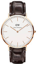 Daniel Wellington Classic York Rose Gold and Embossed Leather Strap Watch, 40mm