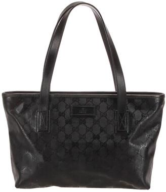 Gucci Black Leather GG Imprime Tote Bag
