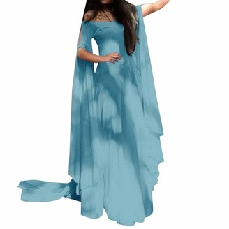 KPILP Womens Maxi Dress Solid Color Batwing Long Sleeve Off The Shoulder Slim fit A-line Swing Floor Length Elegant Evening Party Club Fashion Long Dresses(Blue S)