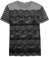 Miu Miu Lace And Cotton-jersey T-shirt - Gray
