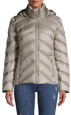 MICHAEL Michael Kors Packable Chevron Feather-Fill Puffer Coat