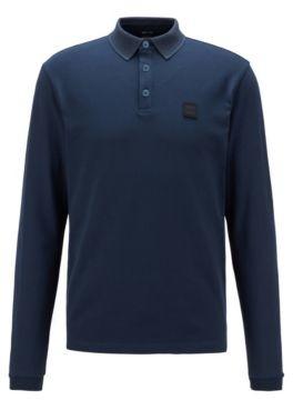 HUGO BOSS Long-sleeved polo shirt with herringbone collar