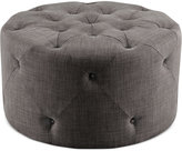 Imogen Fabric Round Tufted Cocktail Ottoman, Quick Ship